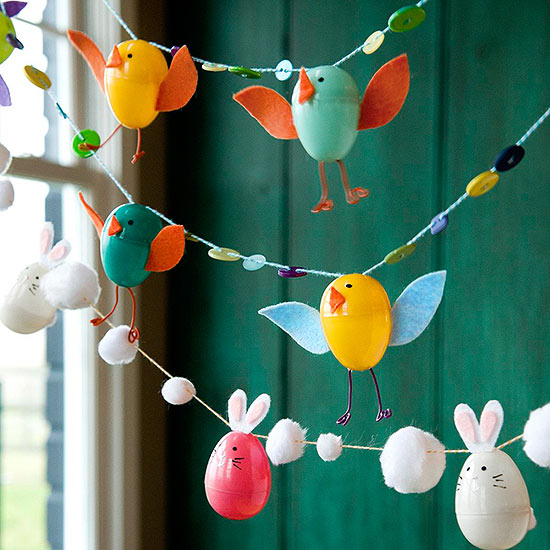 Easter Garland Using Plastic Eggs, Pom-poms, Buttons and Thread