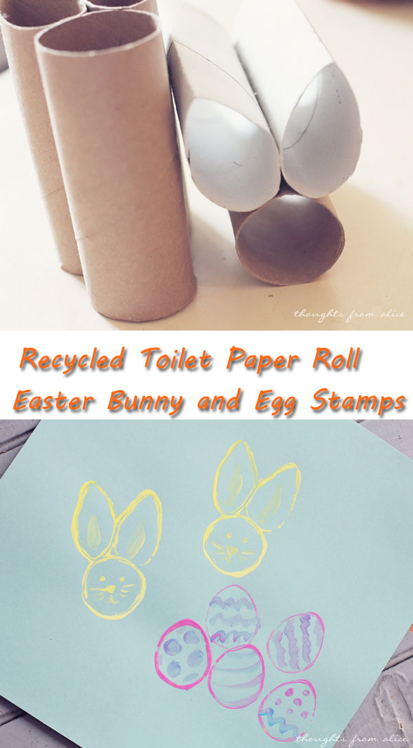 Toilet Paper Roll Easter Bunny and Egg Stamps