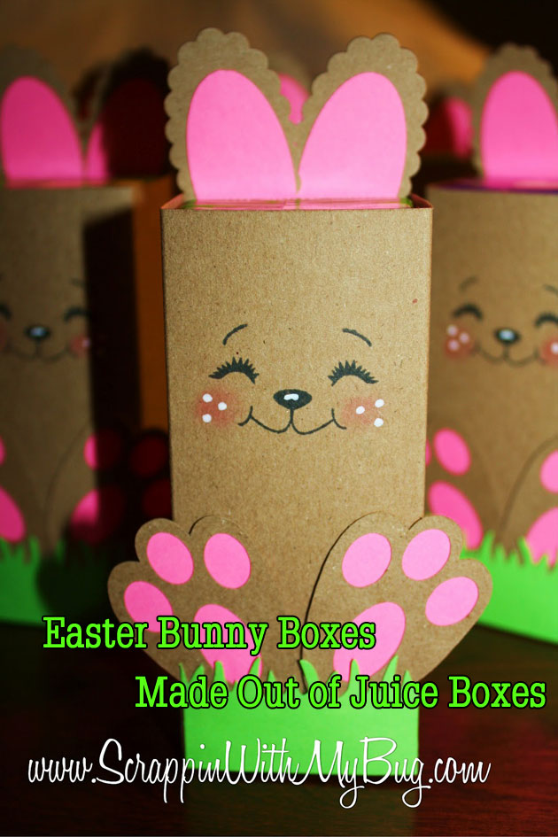 Easter Bunny Boxes Made Out of Juice Boxes