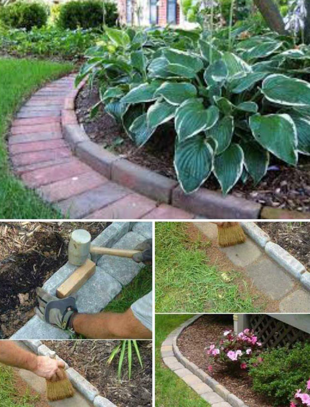 Use Cement or Stone Bricks to Edge Your Garden