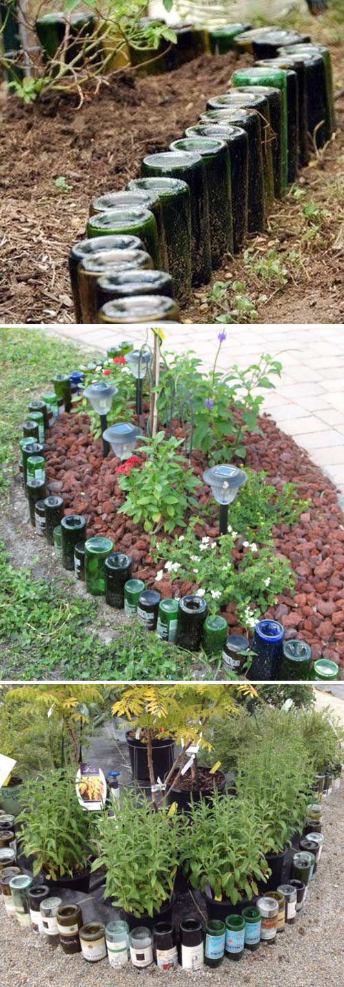 Glass Bottle Garden Bed Edging