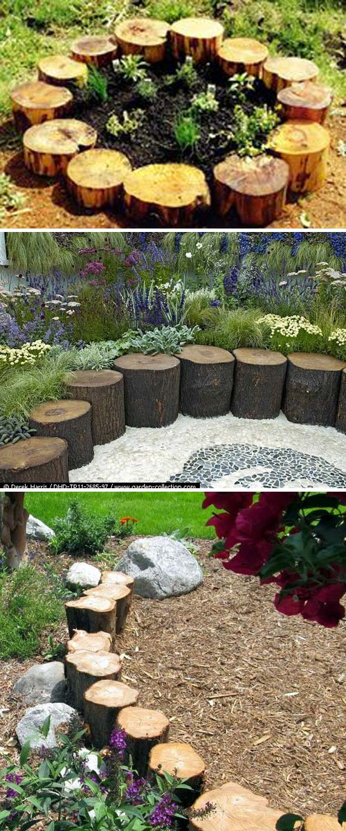 Tree Logs Make a Great Garden Border