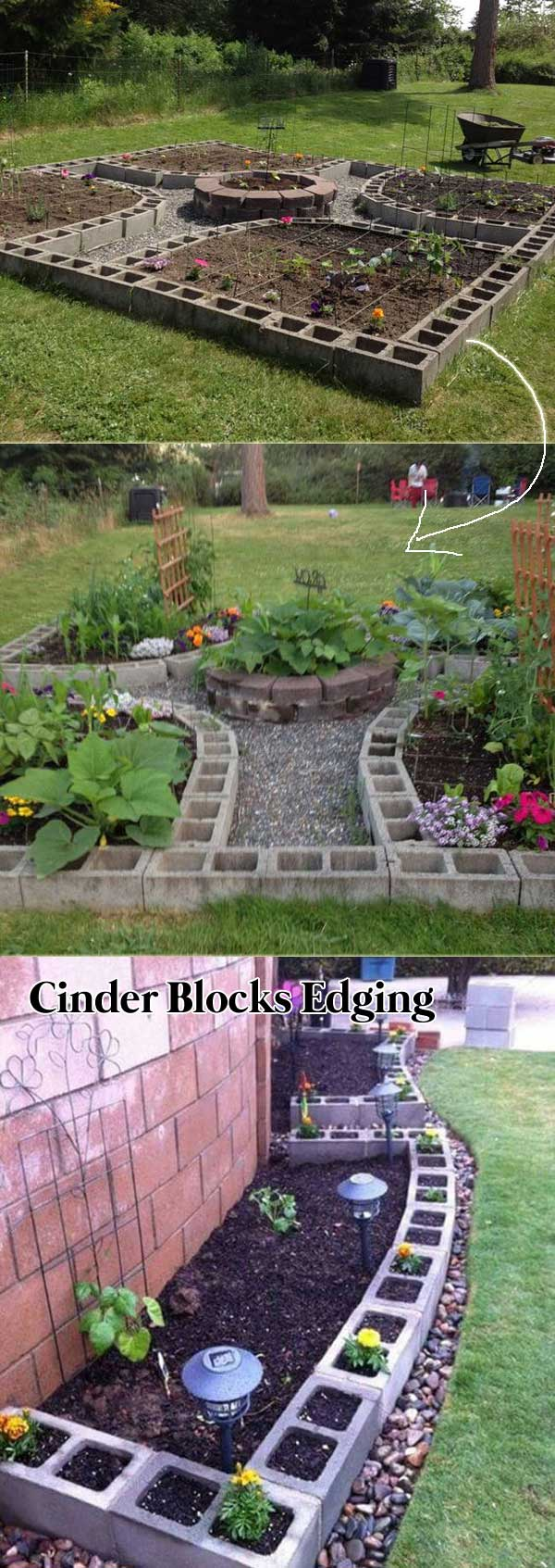 Line Your Garden Beds with Cinder Blocks