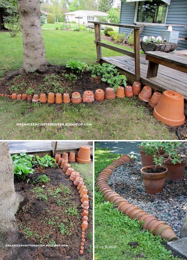 Terra Cotta Pots Fashioned Into A Garden Border