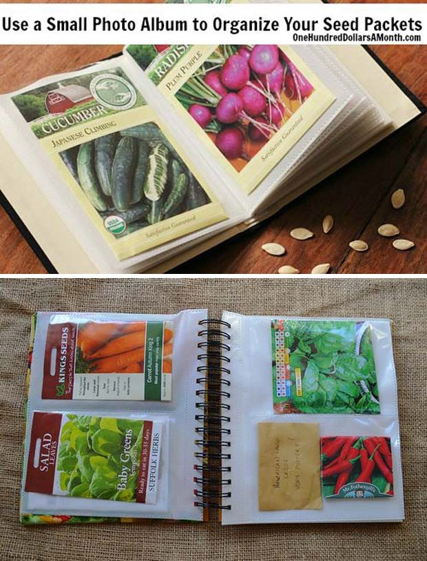 Use an old photo album as seed packet organizer
