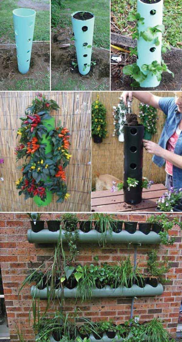 Use PVC pipes to build vertical planter