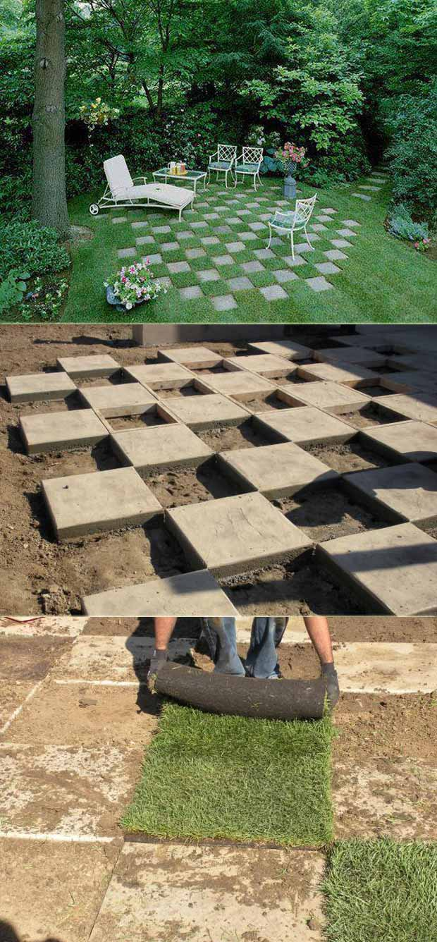 Add Some Fun To Your Backyard Lawn By Laying A Checkerboard Pattern Of  Concrete Pavers: