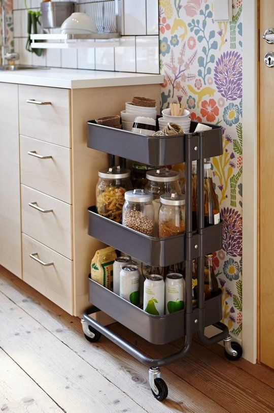 Expand Your Kitchen Storage By Placing An IKEA Raskog Cart At The End Of  Cabinet: