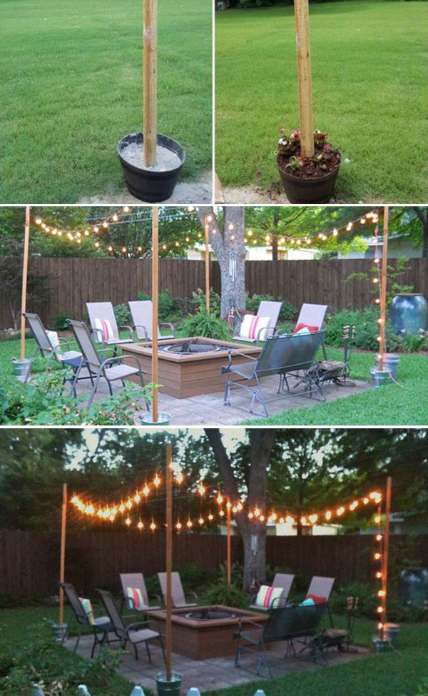 How to Create Patio String Lighting with DIY Pole – HomeDesignInspired