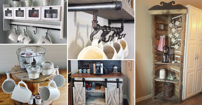 15 Diy Farmhouse Style Coffee Bar Ideas Using Recycled Things