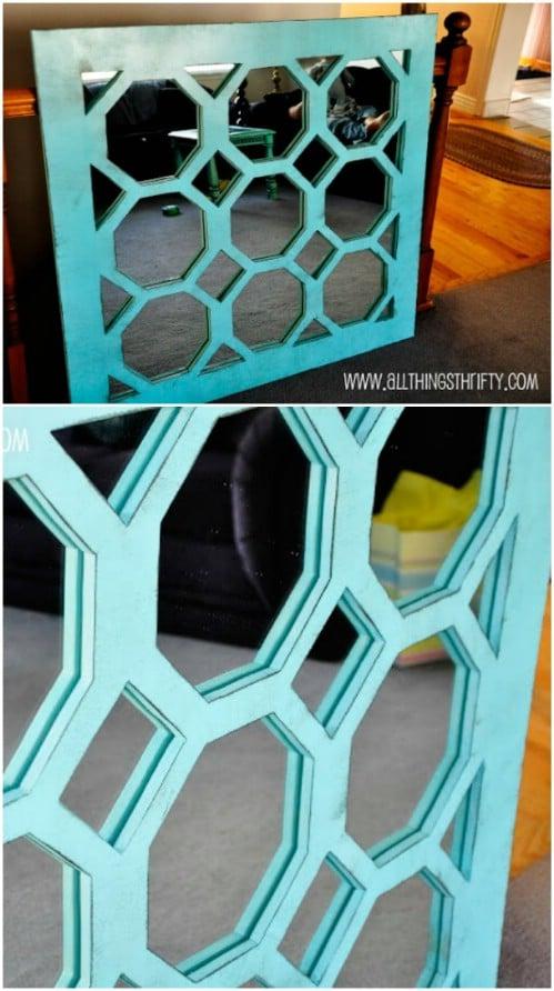 Wood Turquois Mirror