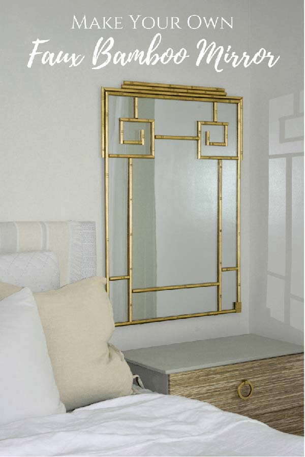 Faux Bamboo Mirror with Half Round Trim and Gold Paint
