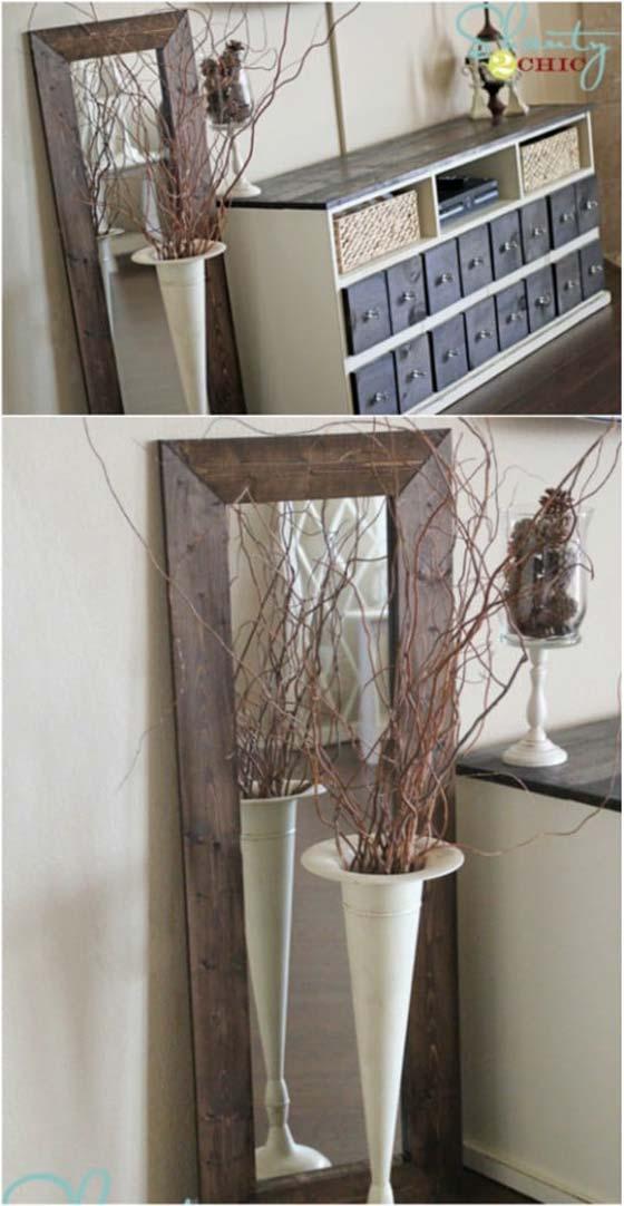 Rustic farmhouse inspired DIY mirror
