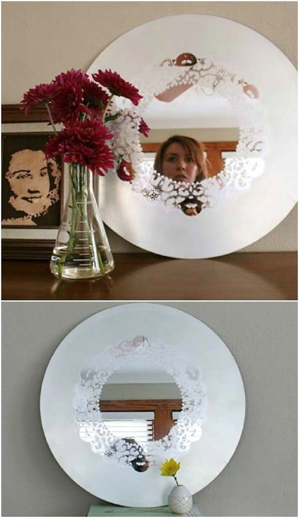 Frosted Glass Doily Mirror