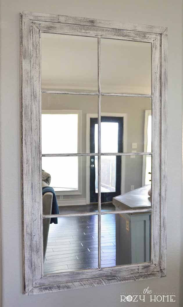 Distressed DIY French Windowpane Mirror